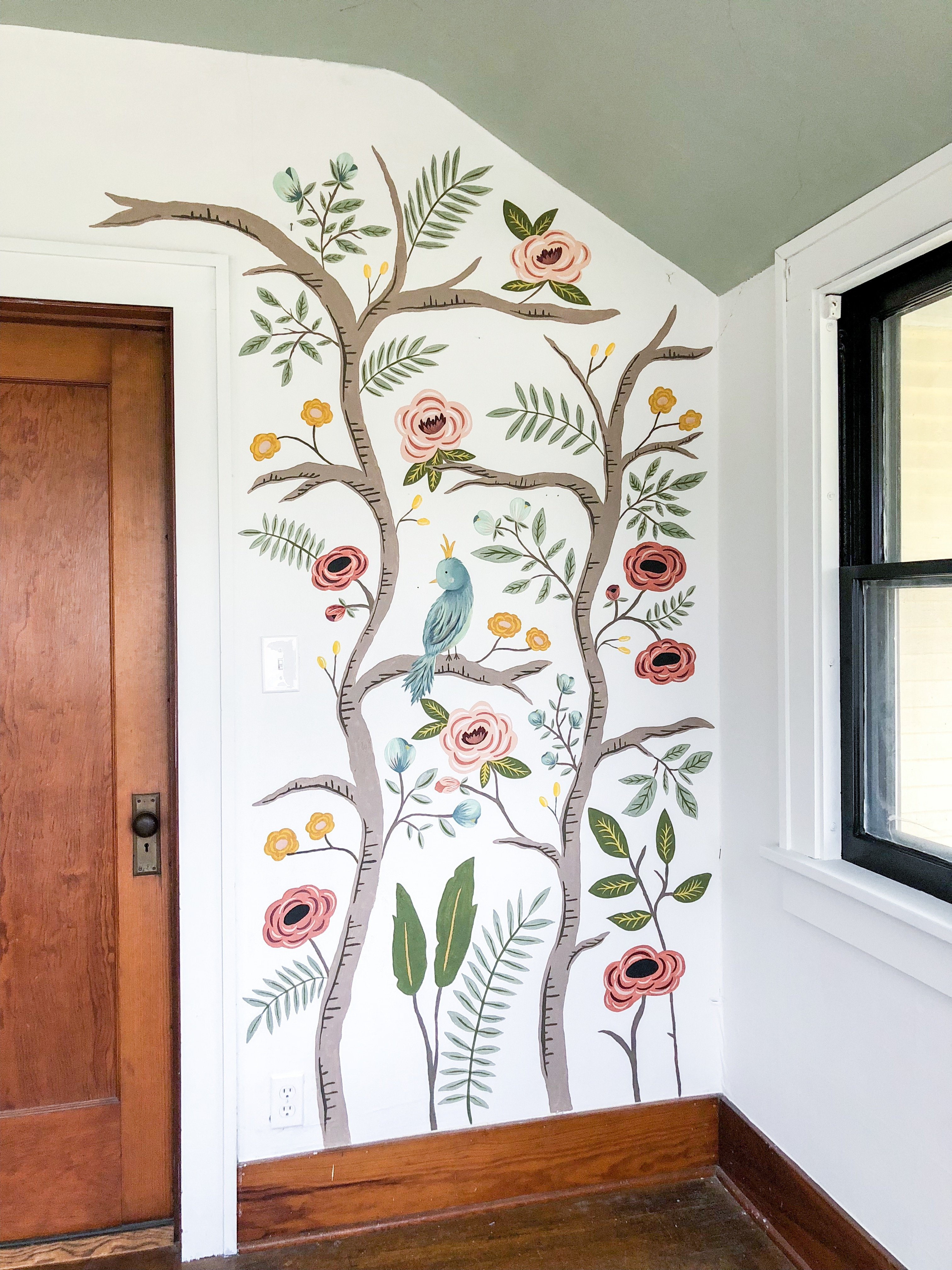 Hand painted Chinoiserie Mural- One Room Challenge